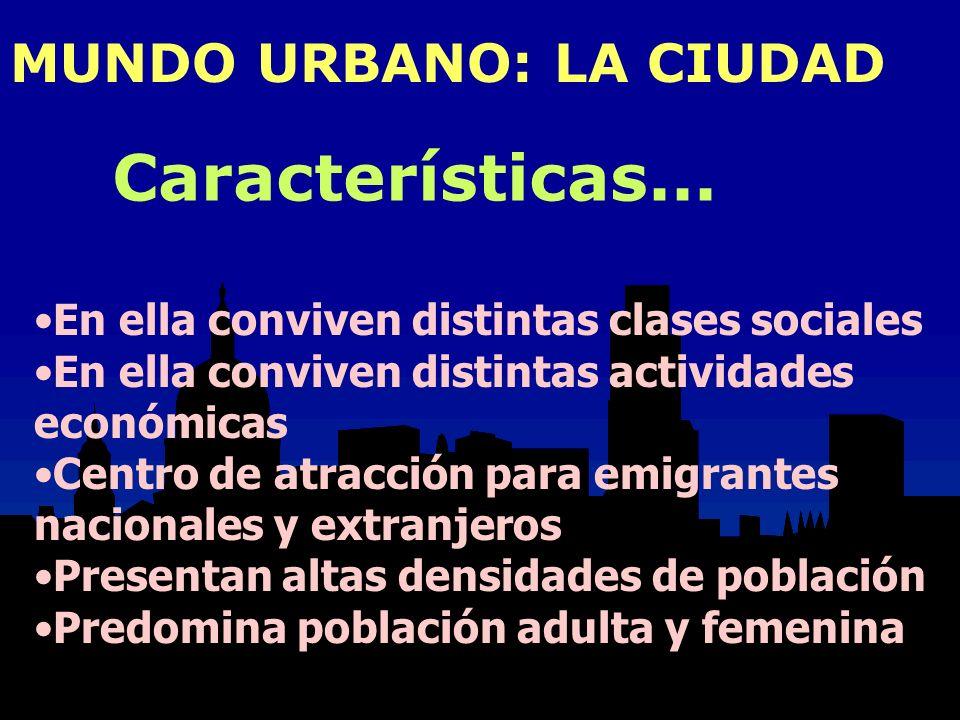 Características... MUNDO URBANO: LA CIUDAD