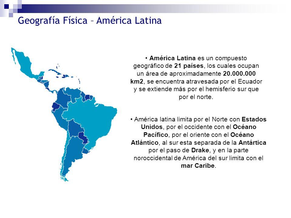 América Latina es un compuesto geográfico de 21 países, los cuales ocupan un área de aproximadamente 20.000.000 km2, se encuentra atravesada por el Ecuador y se extiende más por el hemisferio sur que por el norte.