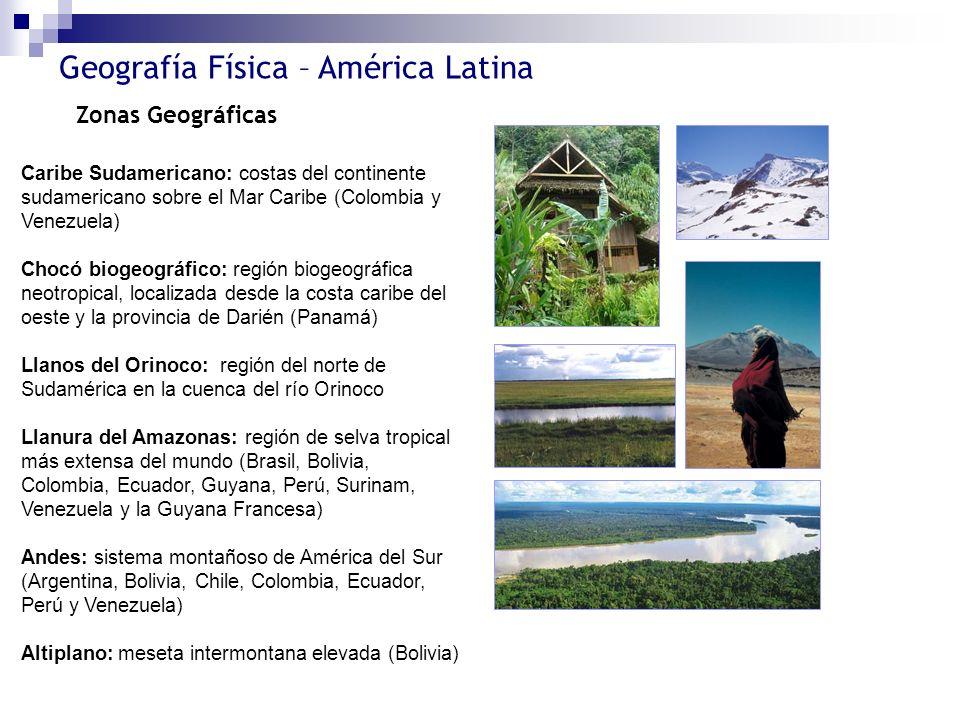 Zonas Geográficas Caribe Sudamericano: costas del continente sudamericano sobre el Mar Caribe (Colombia y Venezuela)