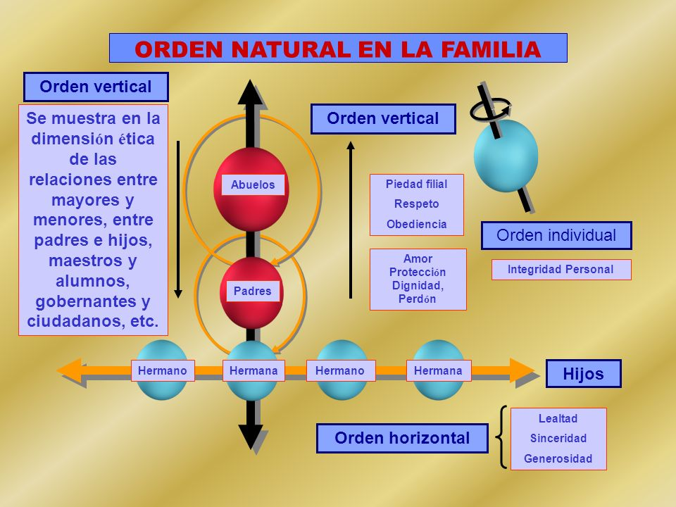 ORDEN NATURAL EN LA FAMILIA Amor Protección Dignidad, Perdón