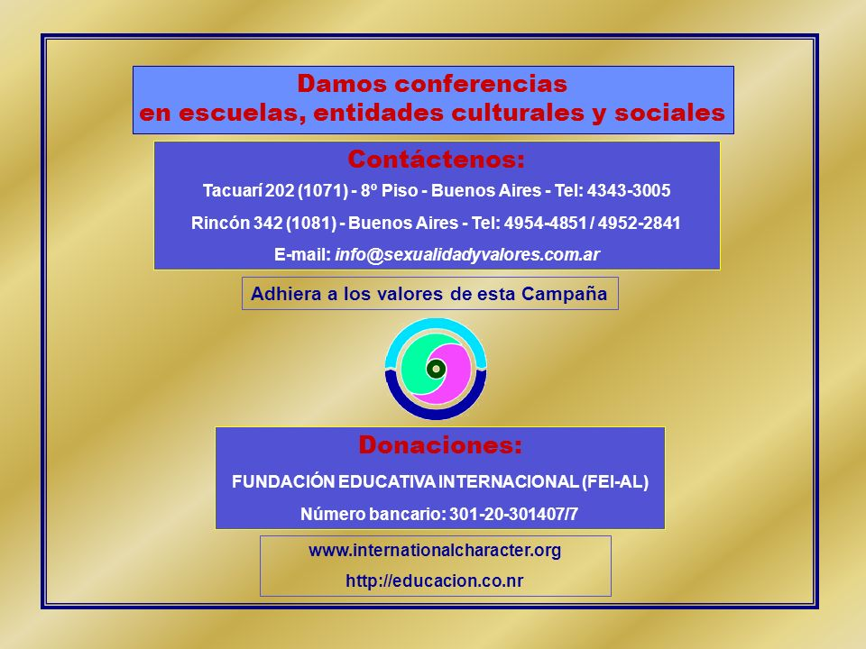 en escuelas, entidades culturales y sociales