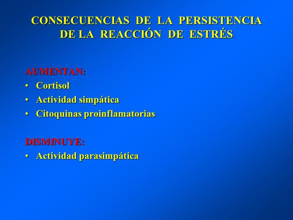 CONSECUENCIAS DE LA PERSISTENCIA DE LA REACCIÓN DE ESTRÉS