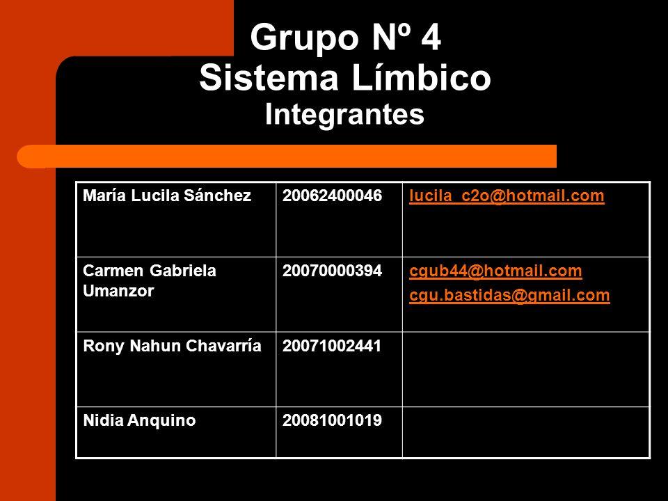 Grupo Nº 4 Sistema Límbico Integrantes