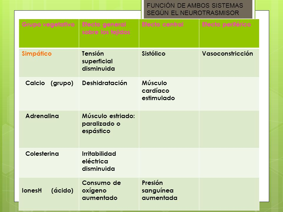 FUNCIÓN DE AMBOS SISTEMAS SEGÚN EL NEUROTRASMISOR