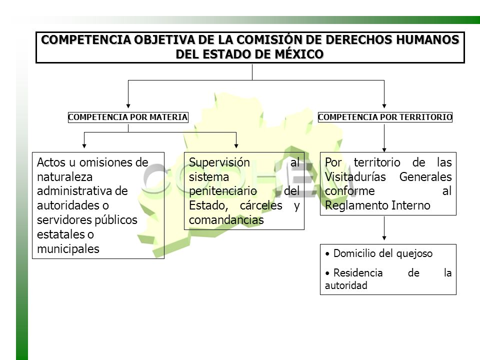 COMPETENCIA OBJETIVA DE LA COMISIÓN DE DERECHOS HUMANOS DEL ESTADO DE MÉXICO
