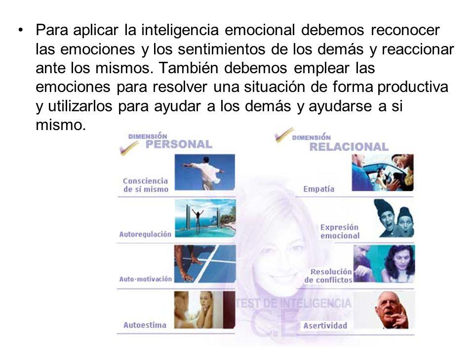 Para aplicar la inteligencia emocional debemos reconocer las emociones y los sentimientos de los demás y reaccionar ante los mismos.