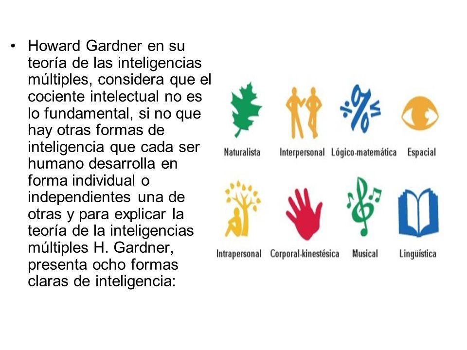 Howard Gardner en su teoría de las inteligencias múltiples, considera que el cociente intelectual no es lo fundamental, si no que hay otras formas de inteligencia que cada ser humano desarrolla en forma individual o independientes una de otras y para explicar la teoría de la inteligencias múltiples H.