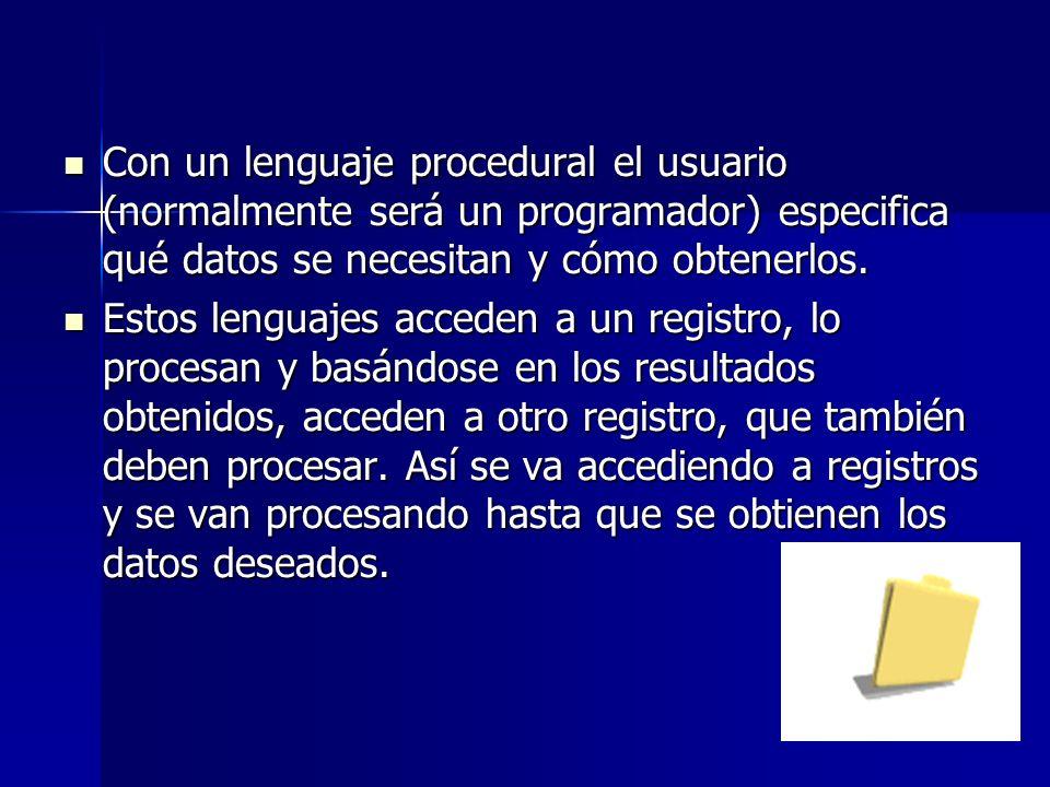 Con un lenguaje procedural el usuario (normalmente será un programador) especifica qué datos se necesitan y cómo obtenerlos.