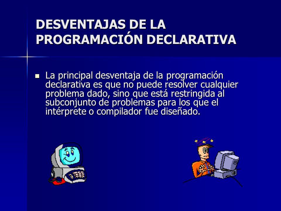 DESVENTAJAS DE LA PROGRAMACIÓN DECLARATIVA