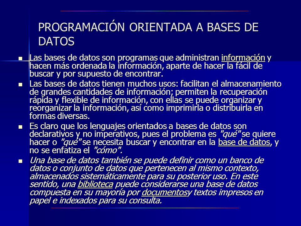 PROGRAMACIÓN ORIENTADA A BASES DE DATOS