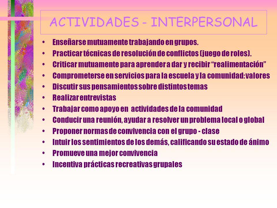 ACTIVIDADES - INTERPERSONAL