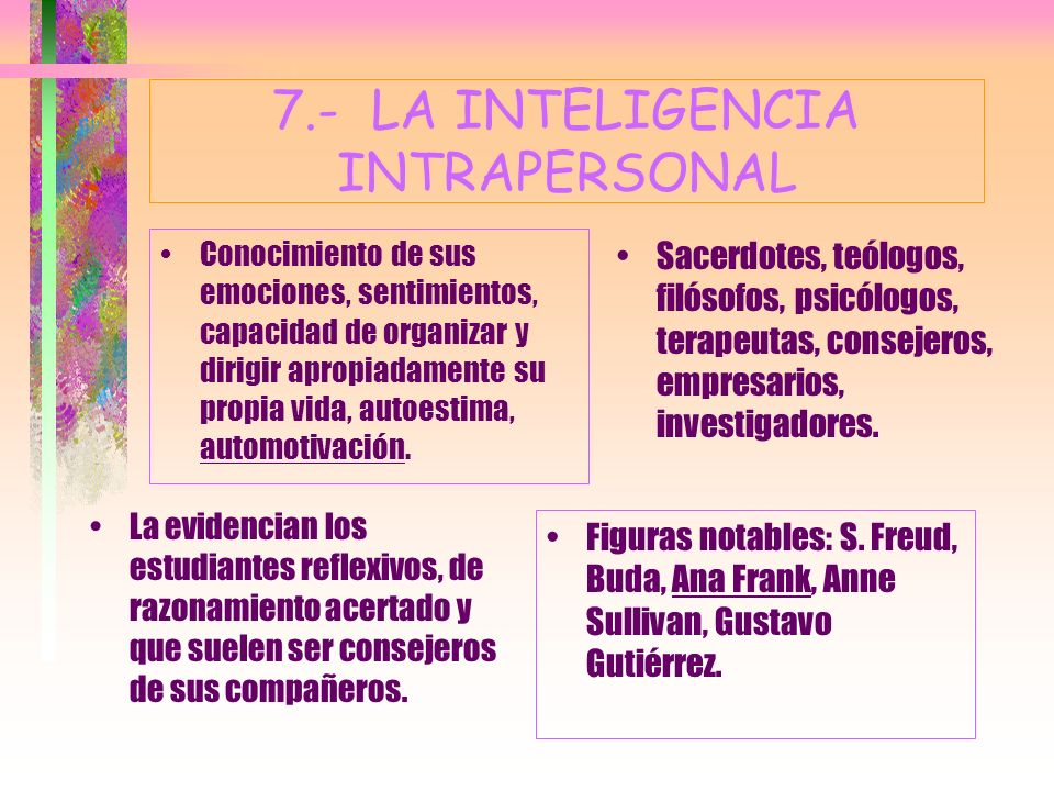 7.- LA INTELIGENCIA INTRAPERSONAL