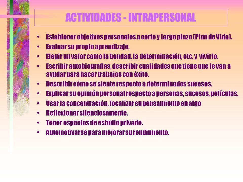 ACTIVIDADES - INTRAPERSONAL