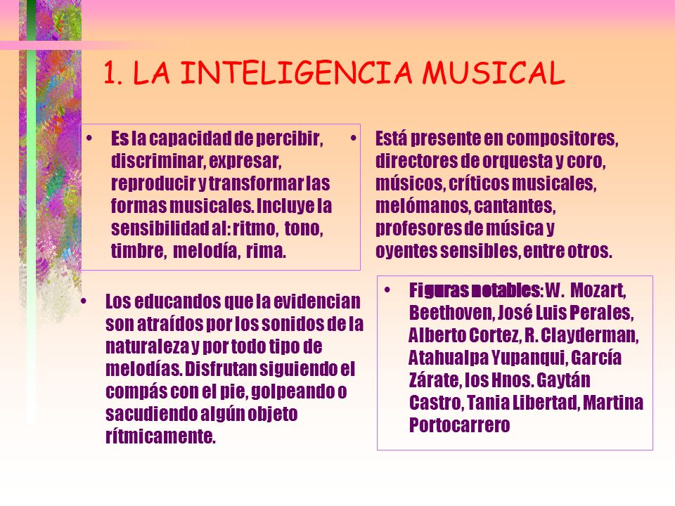 1. LA INTELIGENCIA MUSICAL
