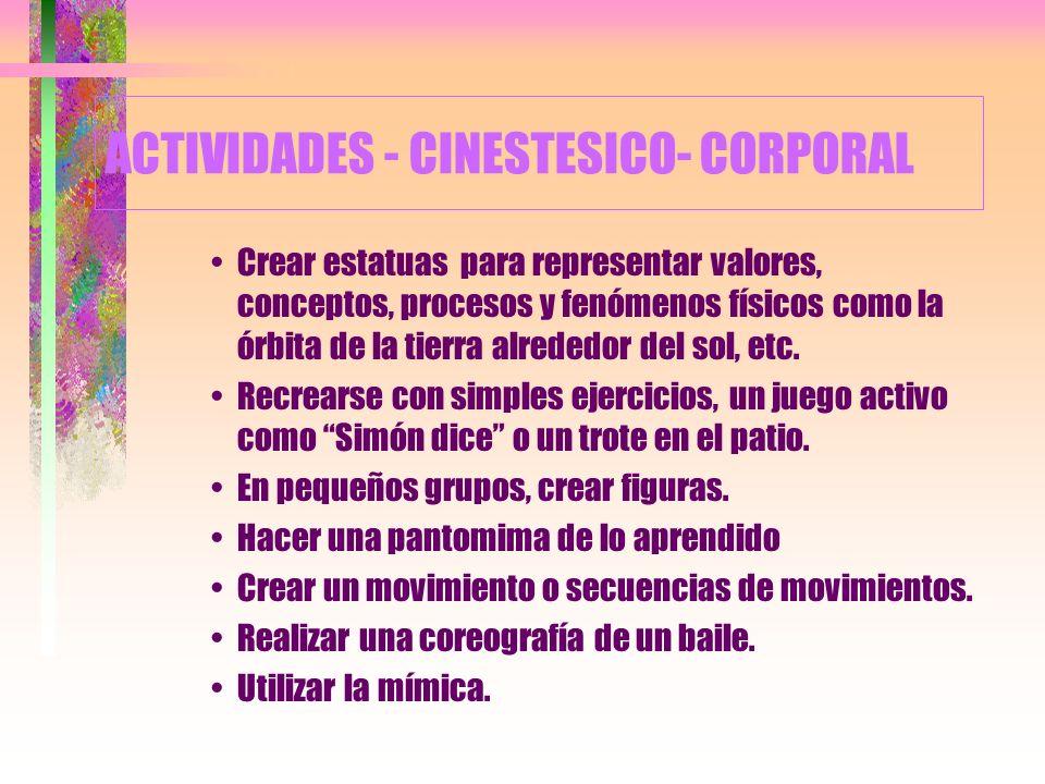 ACTIVIDADES - CINESTESICO- CORPORAL