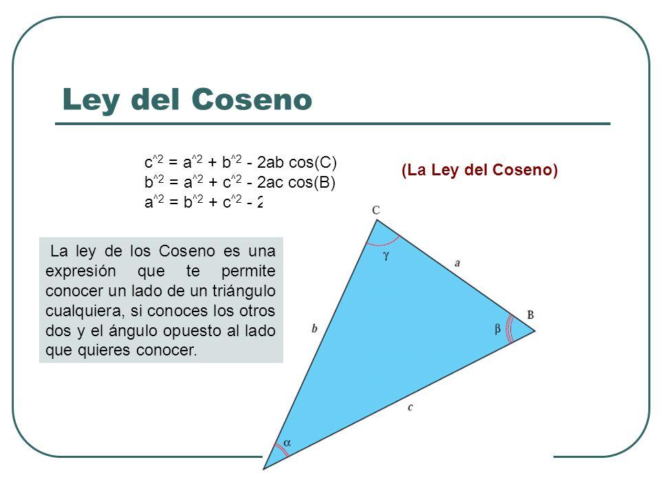 Ley del Coseno c^2 = a^2 + b^2 - 2ab cos(C) (La Ley del Coseno)