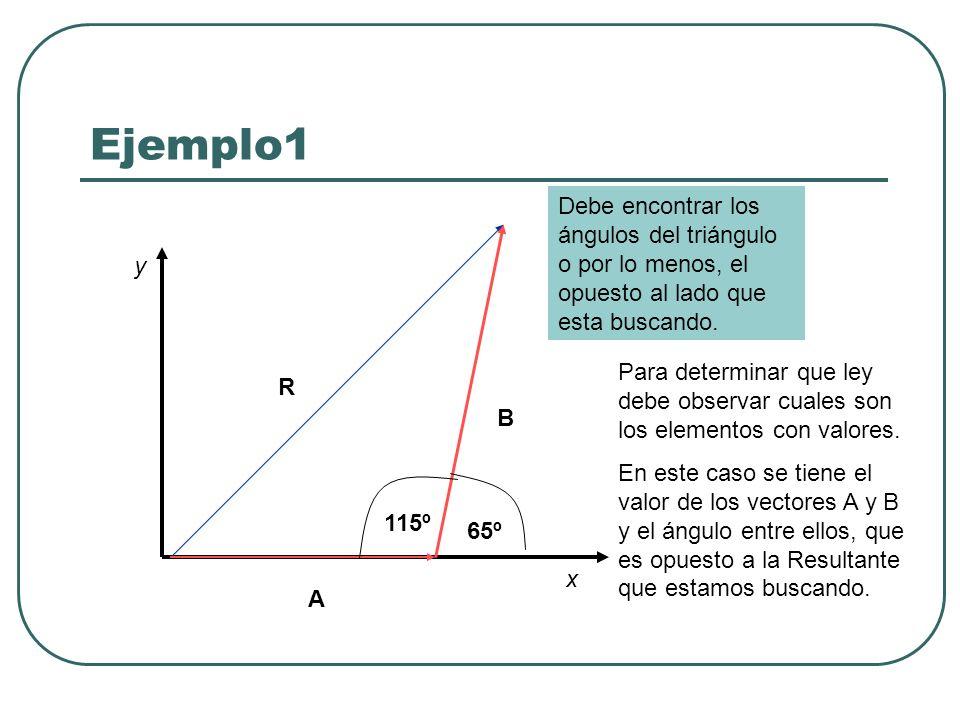 Ejemplo1 Debe encontrar los ángulos del triángulo o por lo menos, el opuesto al lado que esta buscando.