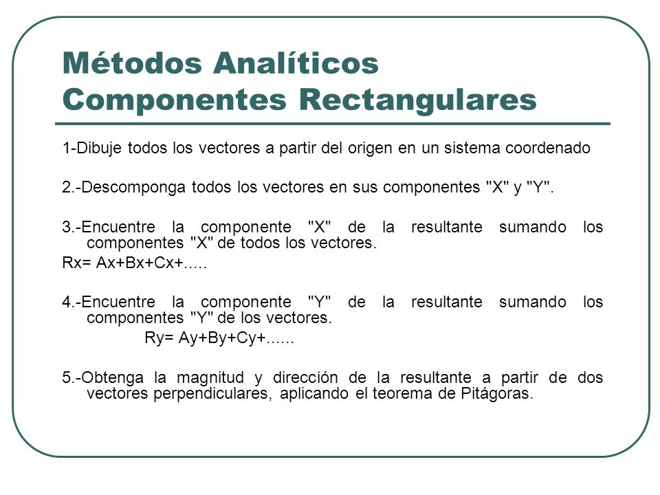 Métodos Analíticos Componentes Rectangulares