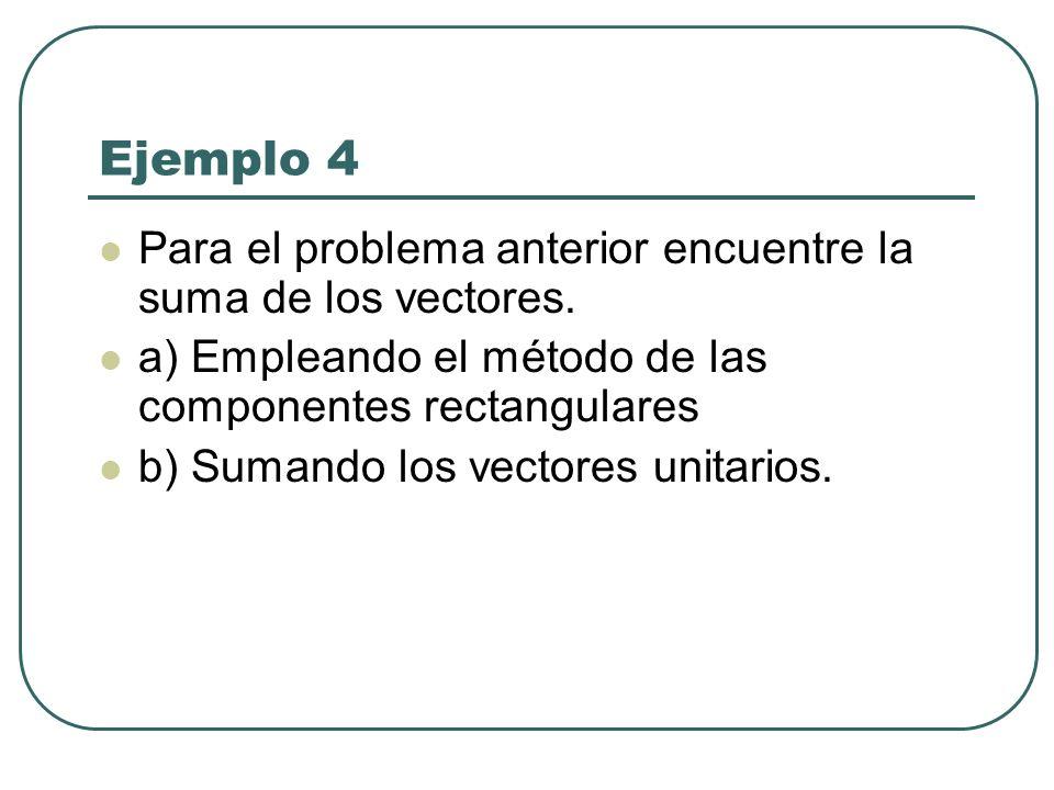 Ejemplo 4 Para el problema anterior encuentre la suma de los vectores.