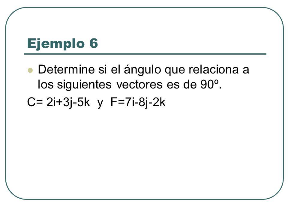Ejemplo 6 Determine si el ángulo que relaciona a los siguientes vectores es de 90º.