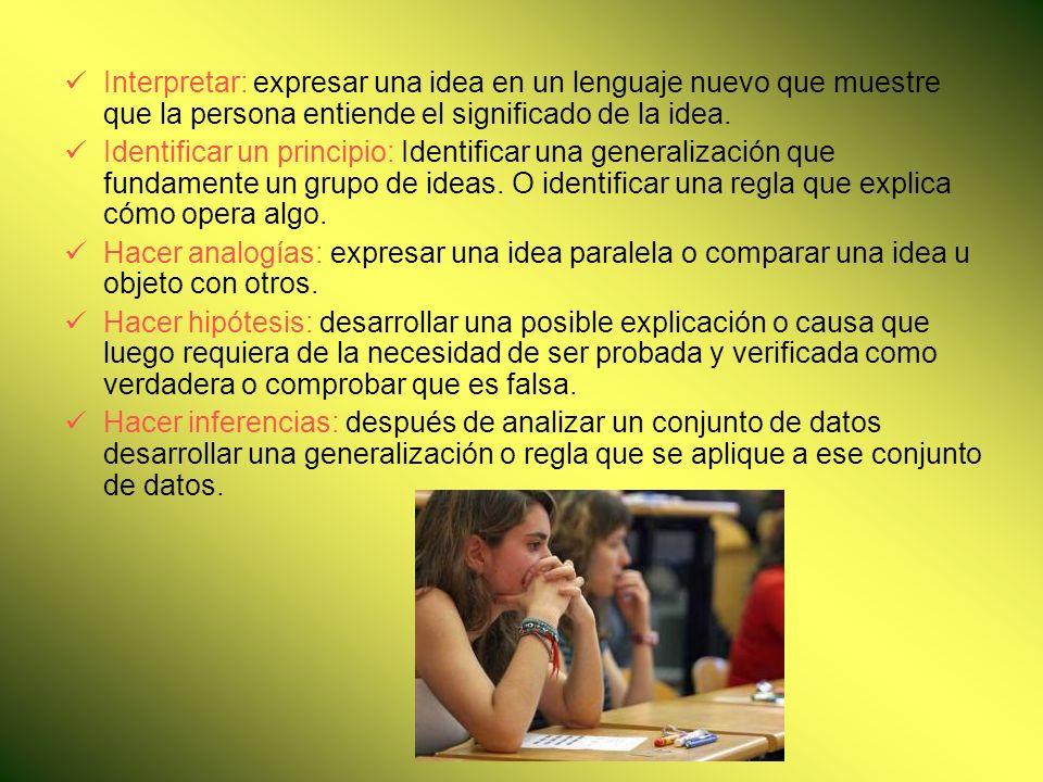  Interpretar: expresar una idea en un lenguaje nuevo que muestre que la persona entiende el significado de la idea.