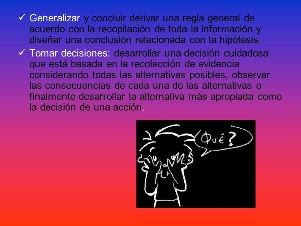  Generalizar y concluir derivar una regla general de acuerdo con la recopilación de toda la información y diseñar una conclusión relacionada con la hipótesis.