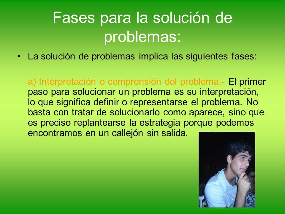 Fases para la solución de problemas: