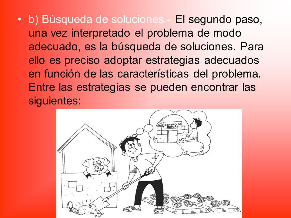 b) Búsqueda de soluciones