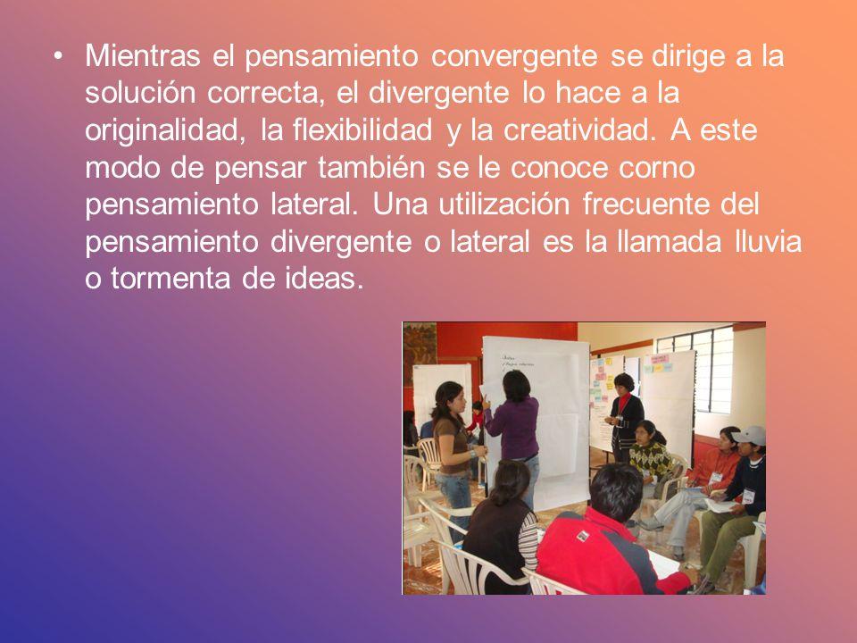 Mientras el pensamiento convergente se dirige a la solución correcta, el divergente lo hace a la originalidad, la flexibilidad y la creatividad.