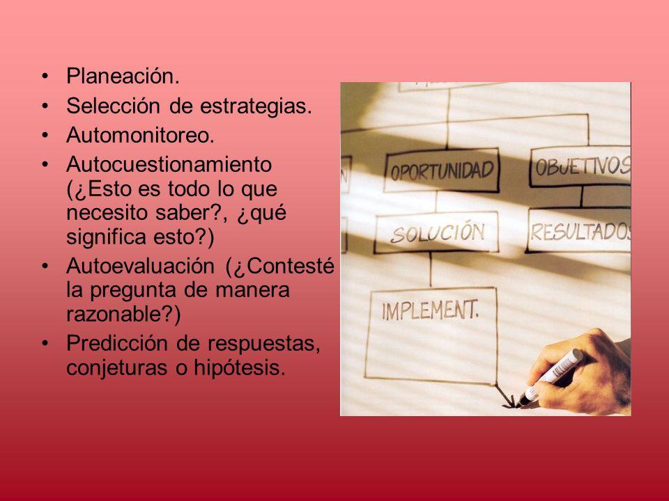 Planeación. Selección de estrategias. Automonitoreo. Autocuestionamiento (¿Esto es todo lo que necesito saber , ¿qué significa esto )