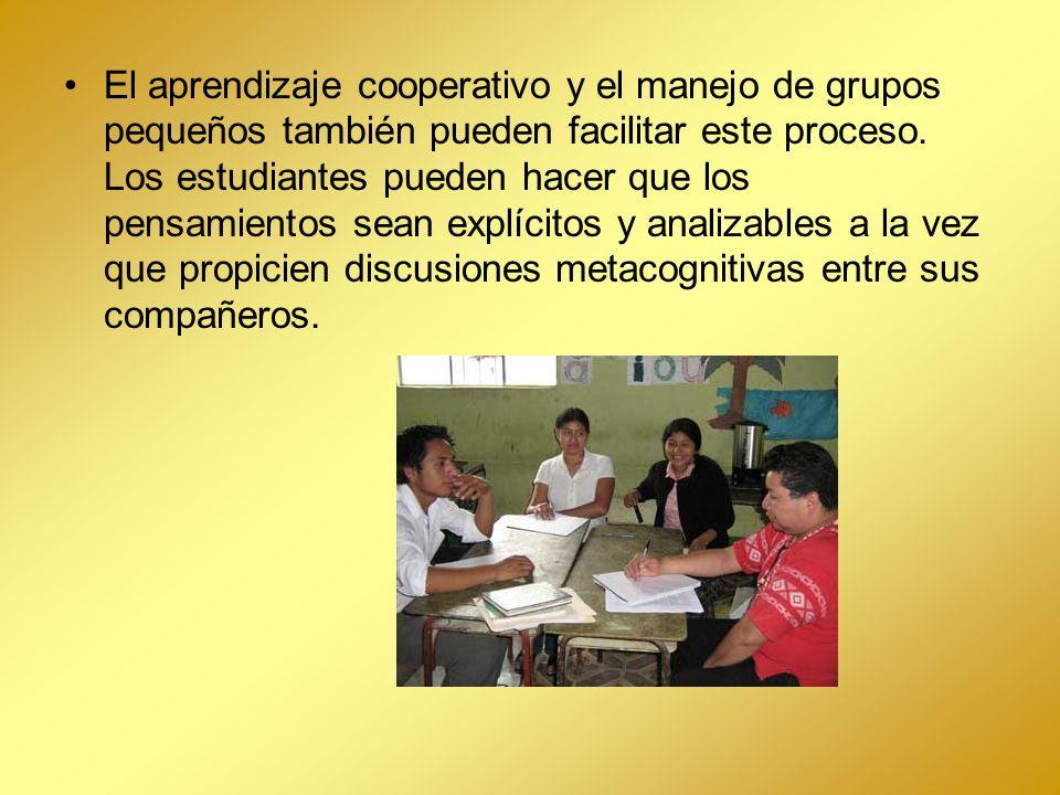 El aprendizaje cooperativo y el manejo de grupos pequeños también pueden facilitar este proceso.