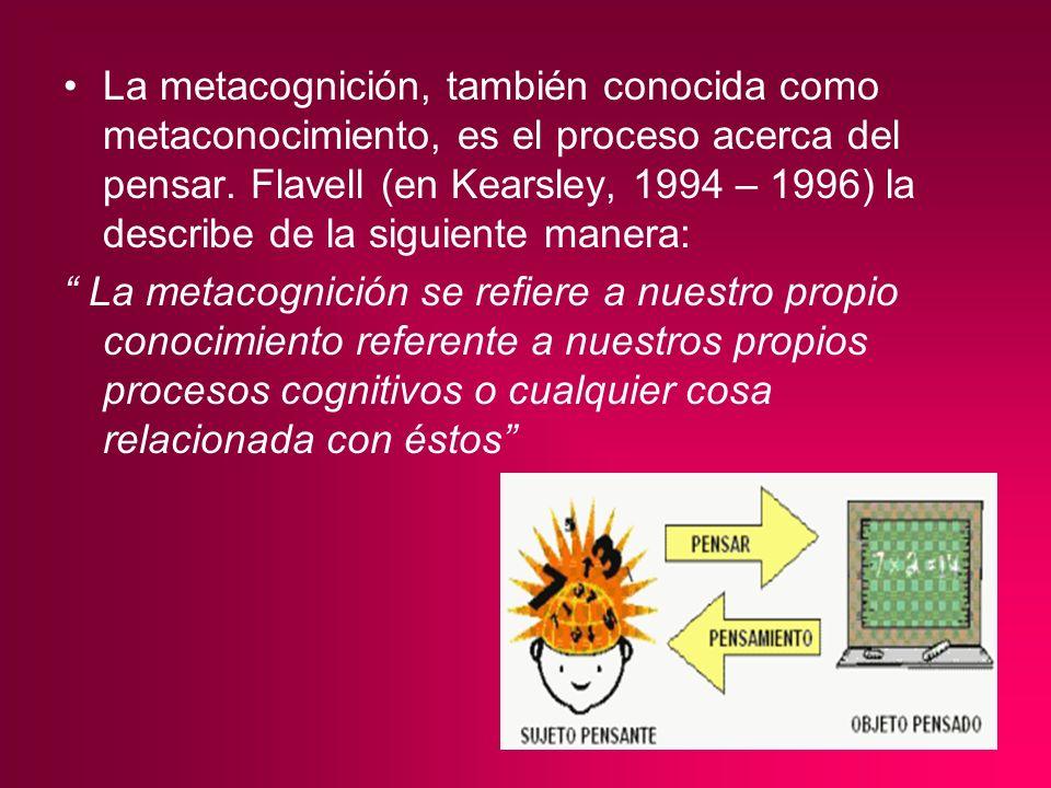 La metacognición, también conocida como metaconocimiento, es el proceso acerca del pensar. Flavell (en Kearsley, 1994 – 1996) la describe de la siguiente manera: