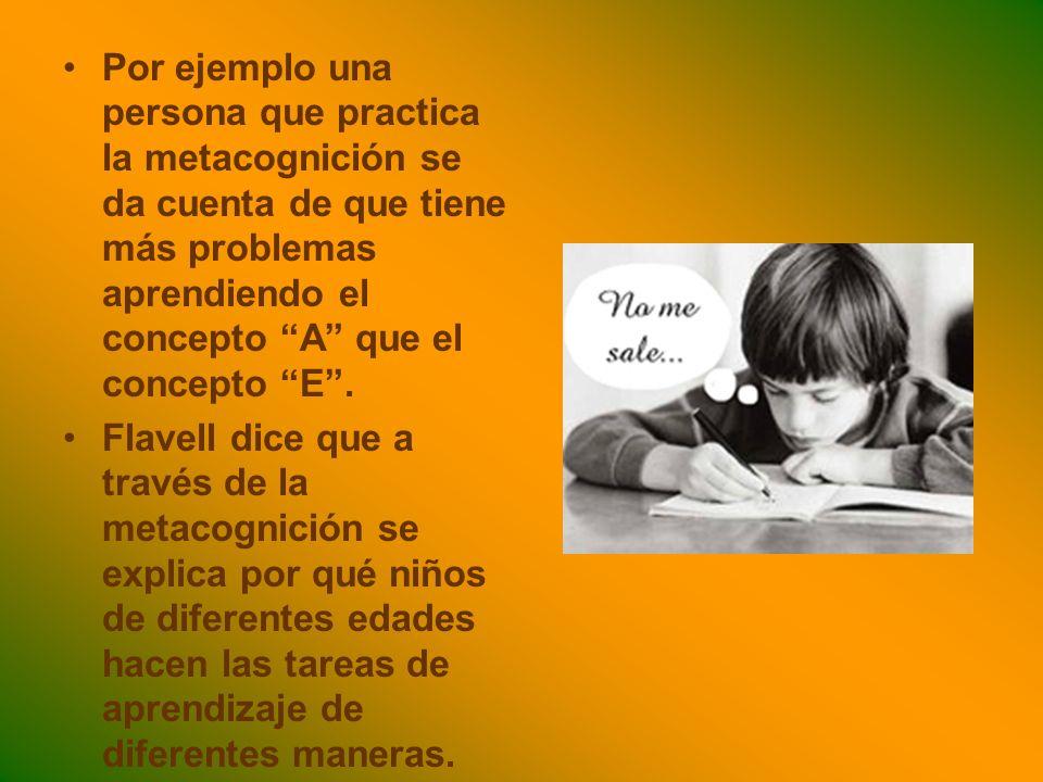 Por ejemplo una persona que practica la metacognición se da cuenta de que tiene más problemas aprendiendo el concepto A que el concepto E .