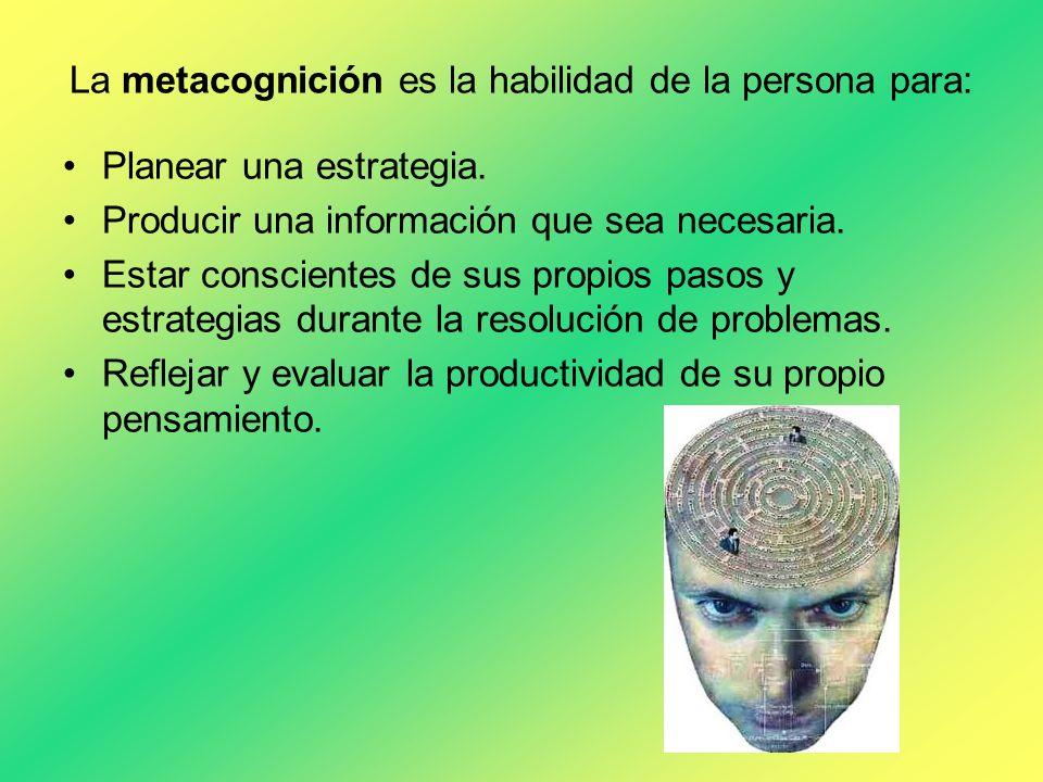 La metacognición es la habilidad de la persona para: