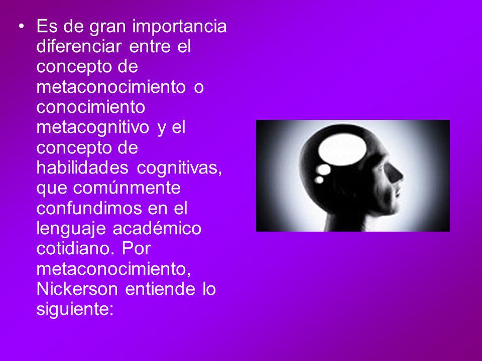 Es de gran importancia diferenciar entre el concepto de metaconocimiento o conocimiento metacognitivo y el concepto de habilidades cognitivas, que comúnmente confundimos en el lenguaje académico cotidiano.