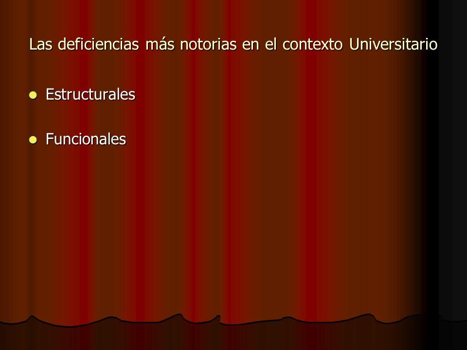 Las deficiencias más notorias en el contexto Universitario