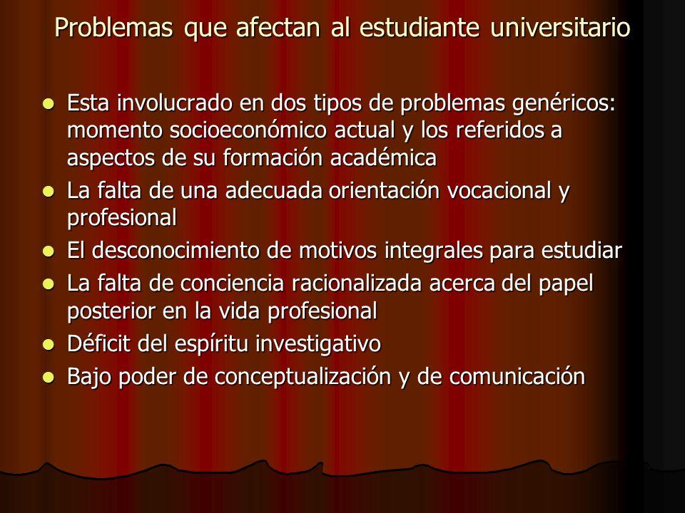 Problemas que afectan al estudiante universitario