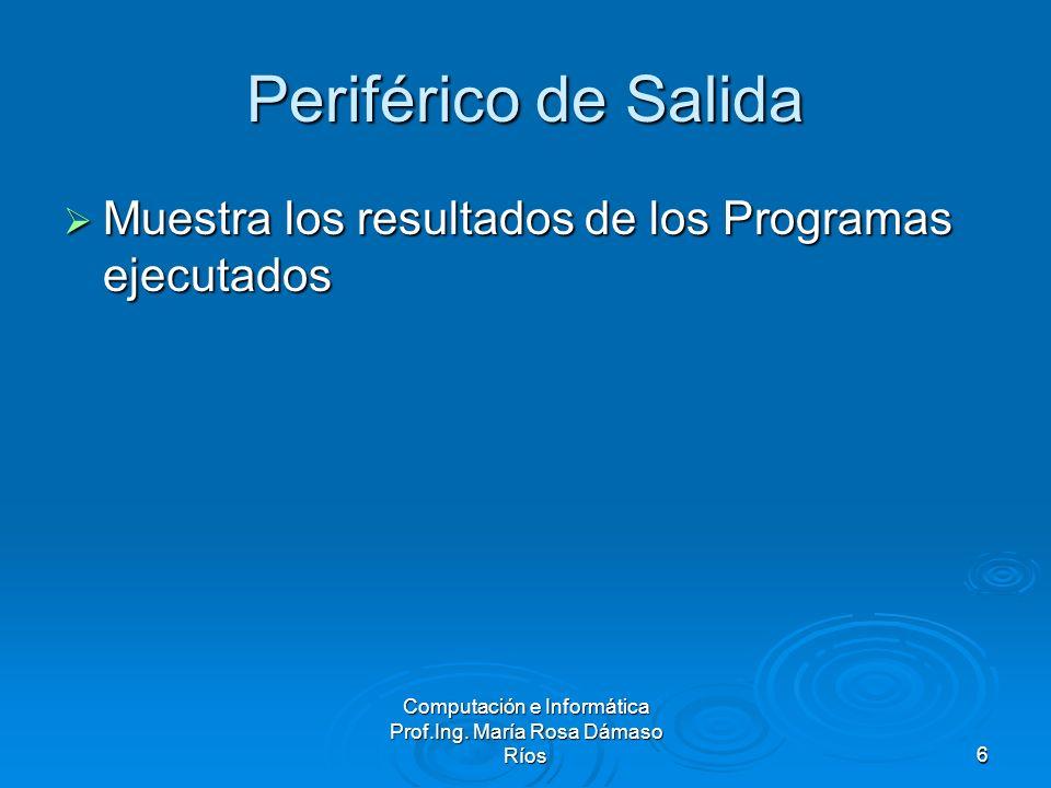 Computación e Informática Prof.Ing. María Rosa Dámaso Ríos