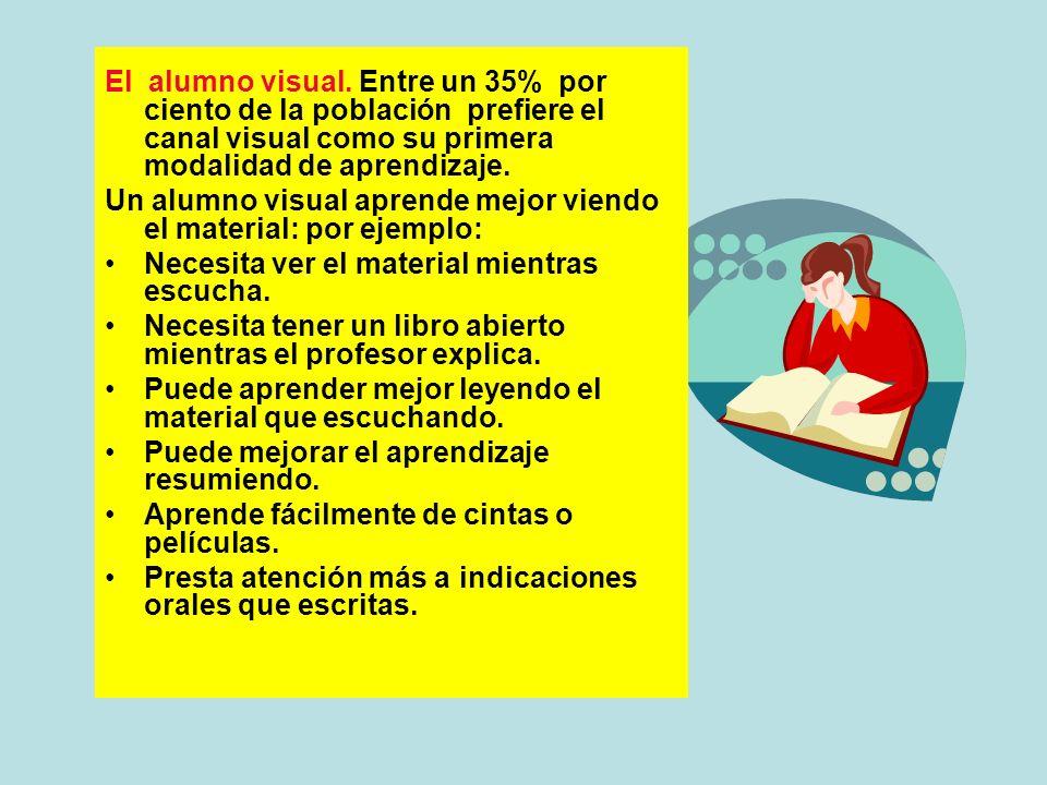 El alumno visual. Entre un 35% por ciento de la población prefiere el canal visual como su primera modalidad de aprendizaje.