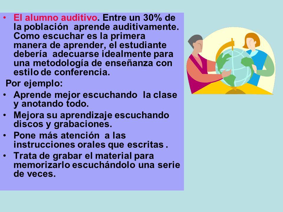 El alumno auditivo. Entre un 30% de la población aprende auditivamente