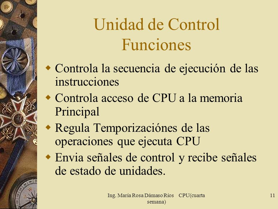 Unidad de Control Funciones