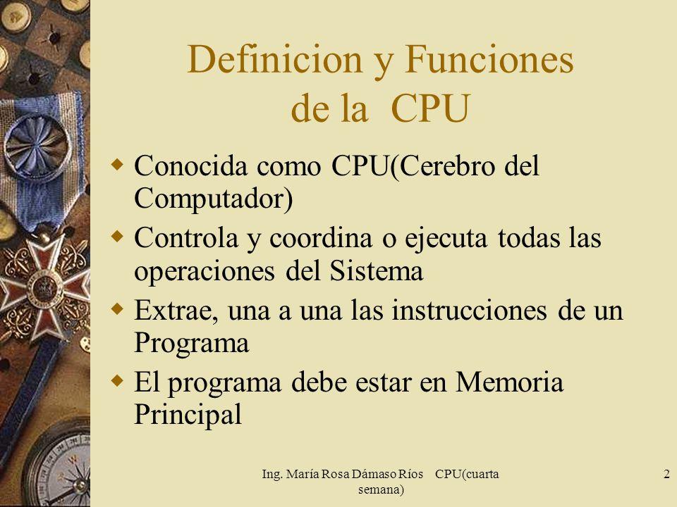 Definicion y Funciones de la CPU