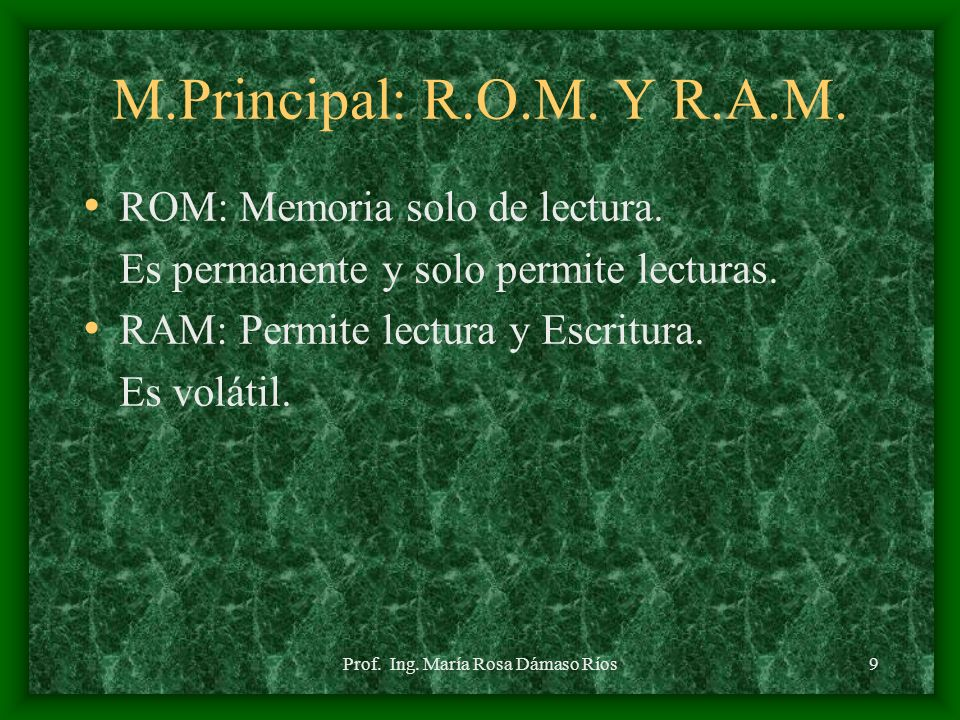 Prof. Ing. María Rosa Dámaso Ríos