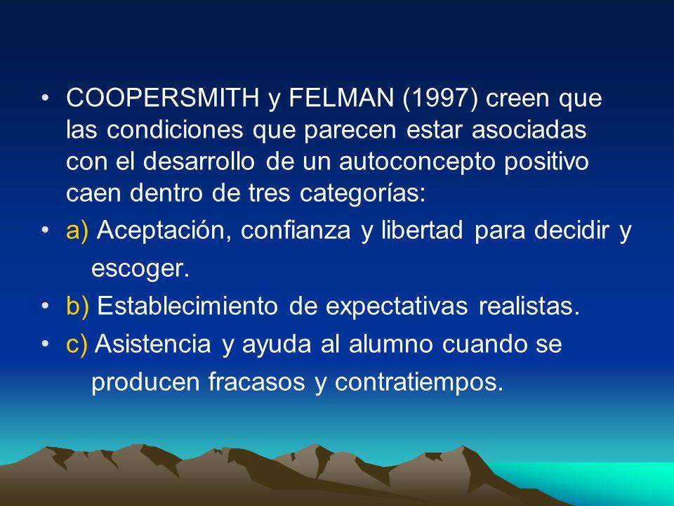 COOPERSMITH y FELMAN (1997) creen que las condiciones que parecen estar asociadas con el desarrollo de un autoconcepto positivo caen dentro de tres categorías: