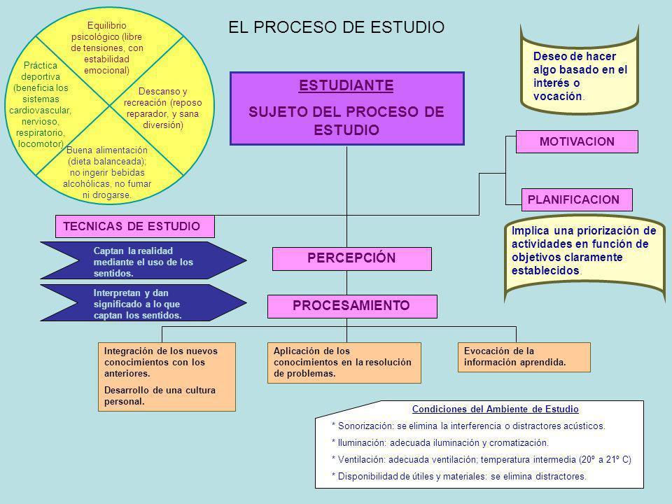 SUJETO DEL PROCESO DE ESTUDIO Condiciones del Ambiente de Estudio