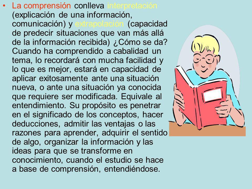 La comprensión conlleva interpretación (explicación de una información, comunicación) y extrapolación (capacidad de predecir situaciones que van más allá de la información recibida) ¿Cómo se da.
