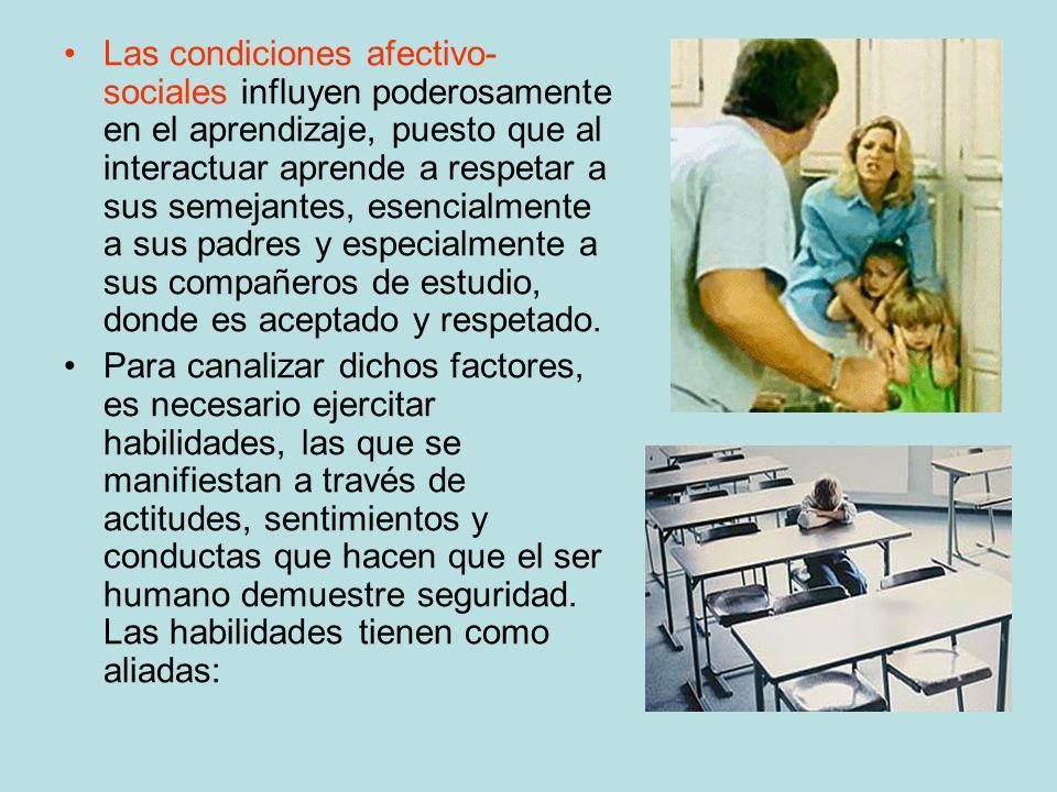 Las condiciones afectivo-sociales influyen poderosamente en el aprendizaje, puesto que al interactuar aprende a respetar a sus semejantes, esencialmente a sus padres y especialmente a sus compañeros de estudio, donde es aceptado y respetado.