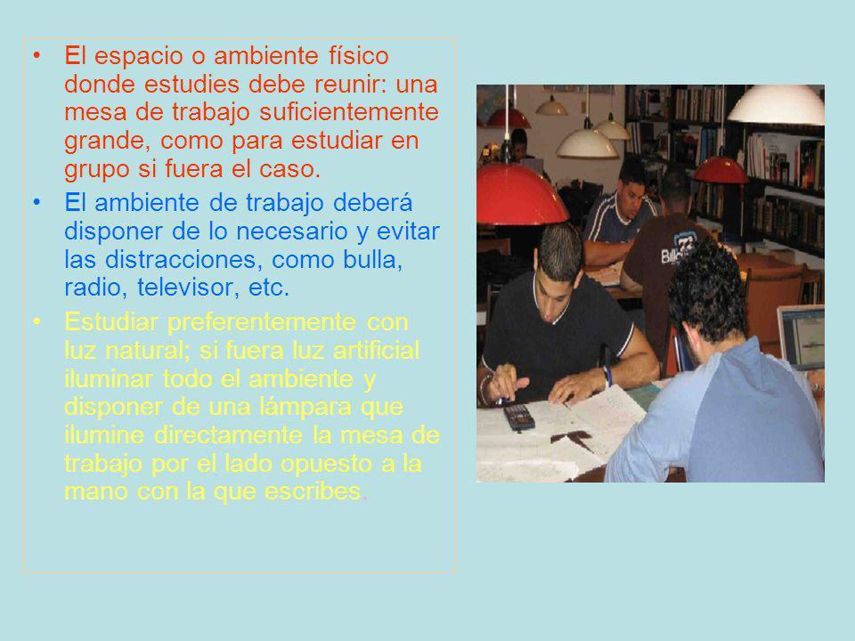 El espacio o ambiente físico donde estudies debe reunir: una mesa de trabajo suficientemente grande, como para estudiar en grupo si fuera el caso.