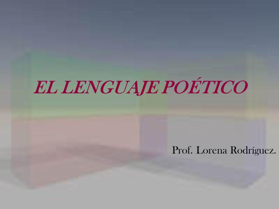EL LENGUAJE POÉTICO Prof. Lorena Rodríguez.