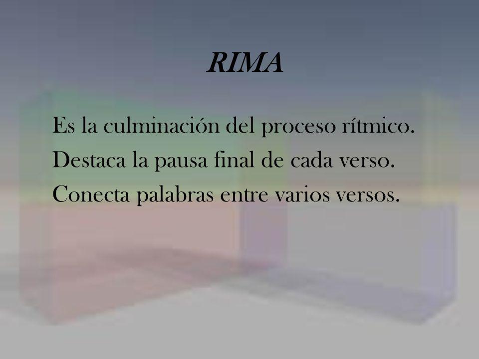RIMA Es la culminación del proceso rítmico.